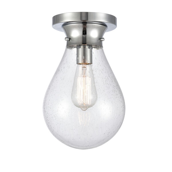 Genesis Polished Chrome Eight-Inch One-Light Flush Mount with Seedy Glass Shade, image 1
