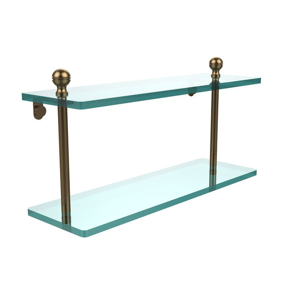 Brushed Bronze 16 x 5 Double 3/8 Glass Shelf, image 1