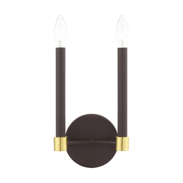 Karlstad Bronze and Satin Brass Two-Light  Wall Sconce, image 1