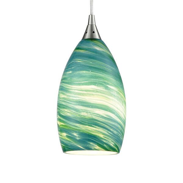 Collanino Satin Nickel Five-Inch One-Light Mini Pendant with Aqua Swirl Blown Glass, image 4