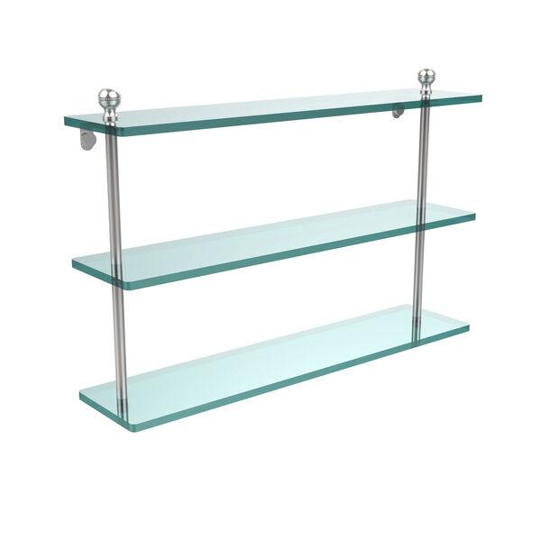 Satin Chrome 22 Inch Triple Glass Shelf, image 1