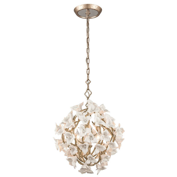 Lily Enchanted Silver Leaf 19-Inch Four-Light  Pendant, image 1