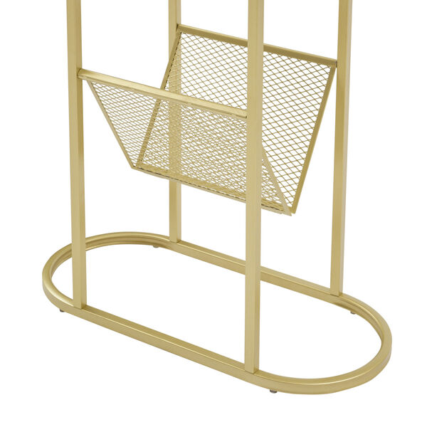 Margo White and Gold Side Table with Magazine Rack, image 4