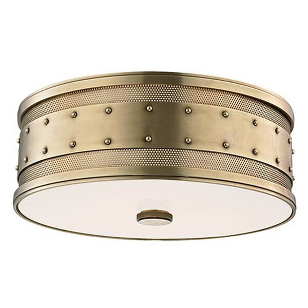 Gaines Aged Brass Three-Light Flush Mount with Frosted Inside-Clear Outside Glass, image 1