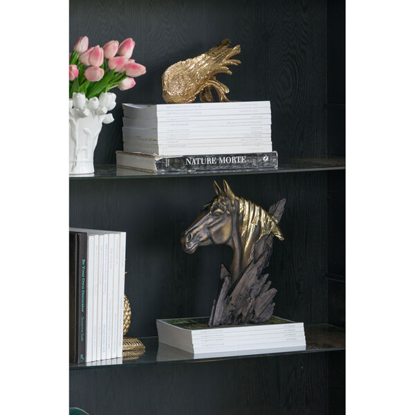 Bronze and Carbon Black Horse Head Stand, image 2
