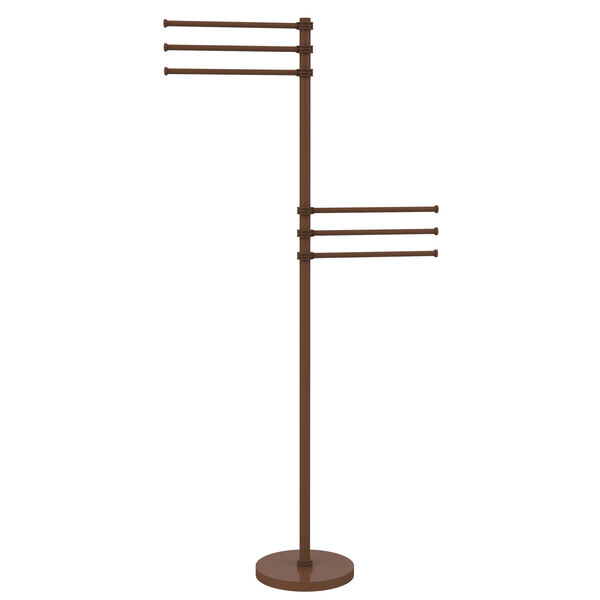 Towel Stand with 6 Pivoting 12 Inch Arms, Antique Bronze, image 1