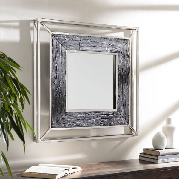 Allure Gray and Silver 32-Inch Wall Mirror, image 1