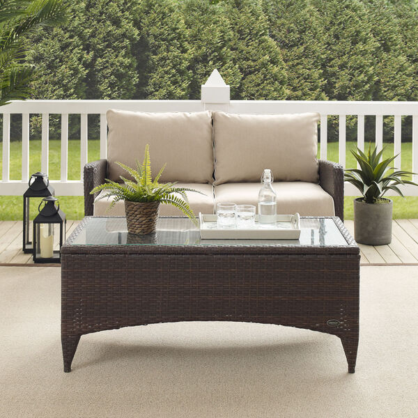 Kiawah Sand Brown Two-Piece Outdoor Wicker Chat Set, image 6
