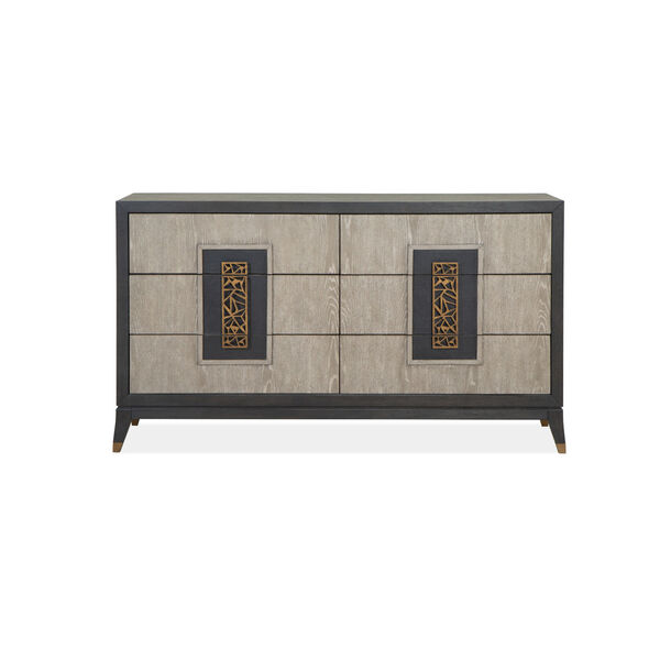 Ryker Nocturn Black and Coventry Gray Double Drawer Dresser, image 6