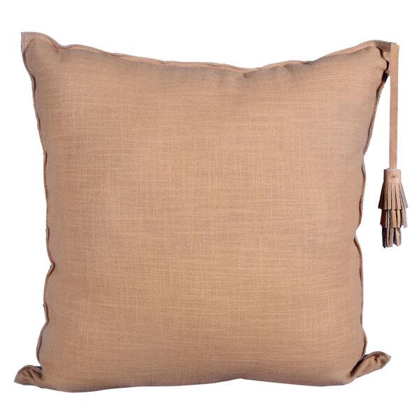Chevron Tan 24 In. X 24 In. Leather Throw Pillow, image 2