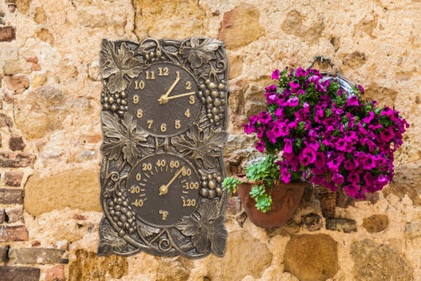 Grapevine French Bronze Indoor Outdoor Wall Clock and Thermometer, image 2
