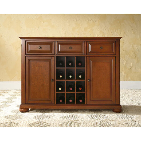 Alexandria Buffet Server / Sideboard Cabinet with Wine Storage in Classic Cherry Finish, image 5