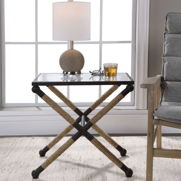 Braddock Black, Brown and Clear 16-Inch Coastal Accent Table, image 2