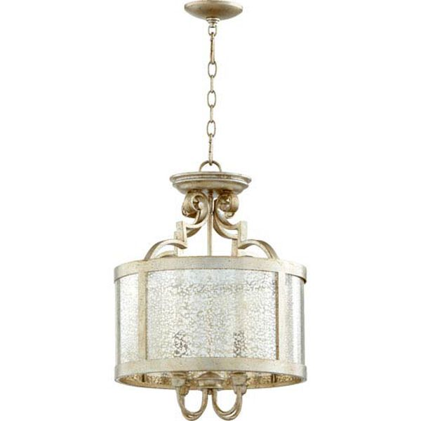 Bloomfield Aged Silver Leaf 16-Inch Four-Light Pendant, image 1