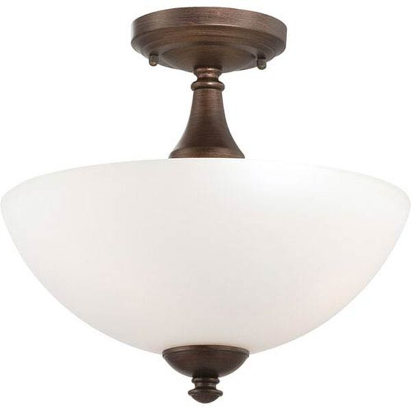 Patton Prairie Bronze Finish Three Light Semi Flush with Frosted Glass, image 1