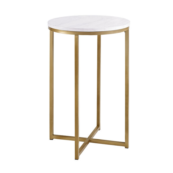 16-Inch Round Side Table - Marble/Gold, image 3