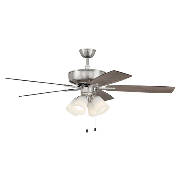 Pro Plus Brushed Polished Nickel 52-Inch Four-Light Ceiling Fan with White Frost Bell Shade, image 5