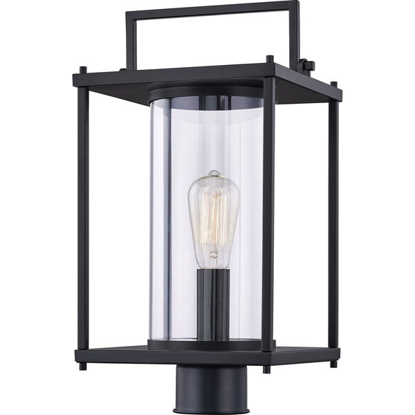 Garrett Matte Black One-Light Outdoor Post Lantern with Transparent Glass, image 1