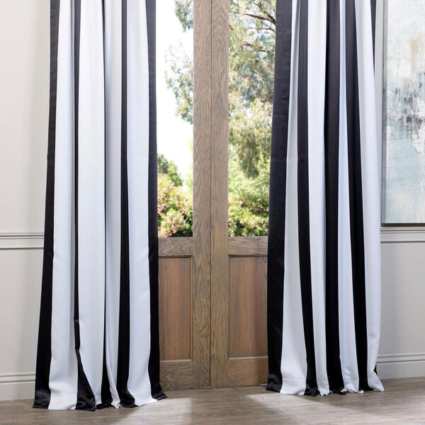 Awning Black and White Stripe 108 x 50-Inch Blackout Curtain Single Panel, image 4