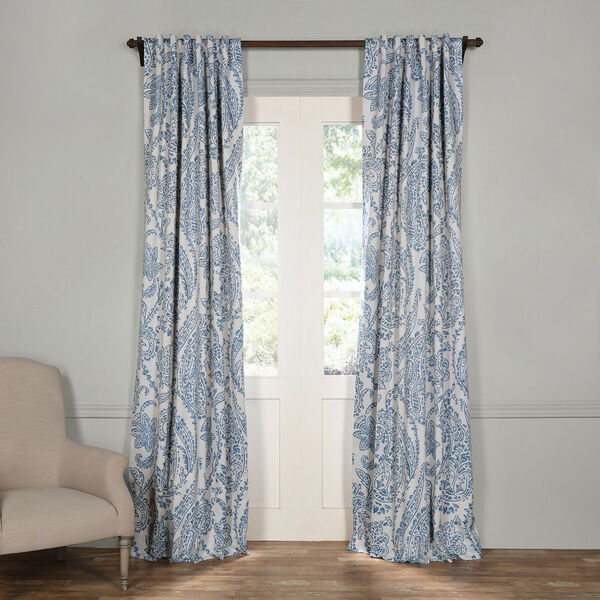 Tea Time China Blue 120 x 50-Inch Blackout Curtain, image 1