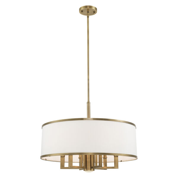 Park Ridge Antique Brass 24-Inch Seven-Light Pendant Chandelier with Hand Crafted Off-White Hardback Shade, image 4