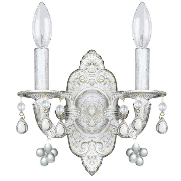 Abbie Antique White Wall Sconce Accented with Murrano Crystal, image 1