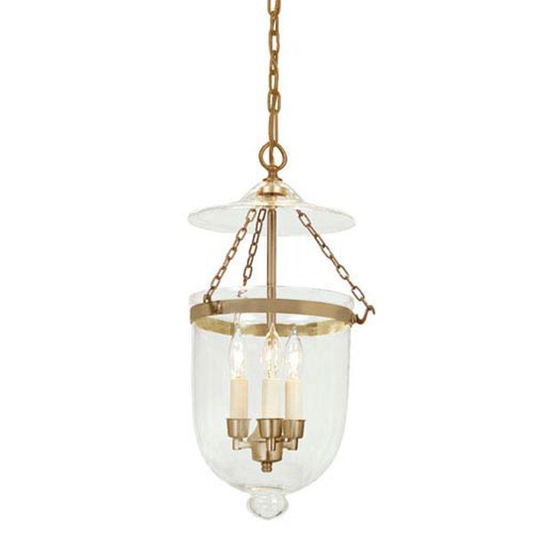 Medium Rubbed Brass Three-Light Hanging Bell Pendant with Clear Glass, image 1