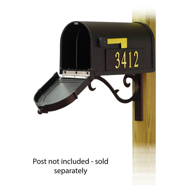 Curbside Black Mailbox with Front and Side Address and Sorrento Front Single Mailbox Mounting Bracket, image 2