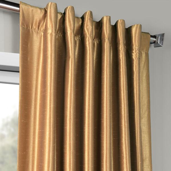 Flax Gold Vintage Textured Faux Dupioni Silk Single Panel Curtain, 50 X 120, image 4