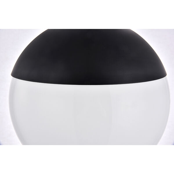 Eclipse Black and Frosted White 10-Inch One-Light Semi-Flush Mount, image 5