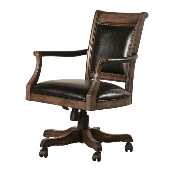 Kingston Weathered Walnut And Black Leather Wooden Desk Chair With Arm And Caster, image 2