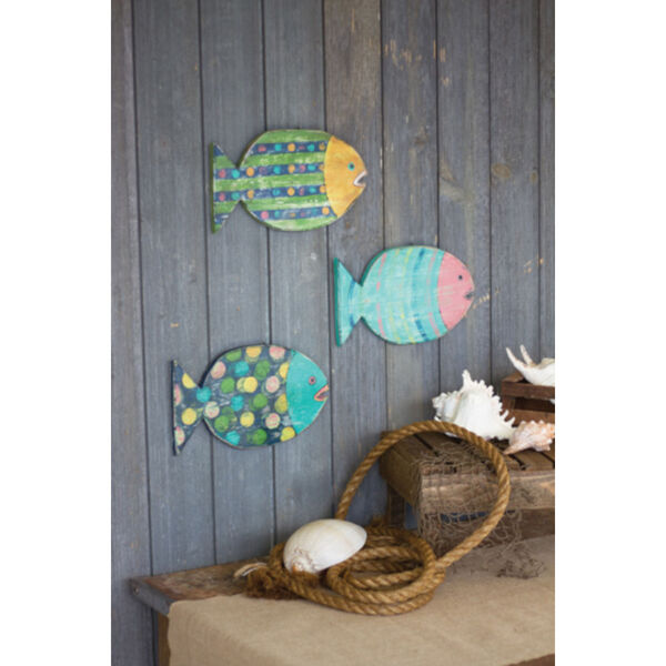 Multi-Colored 7-Inch Wooden Fish Wall Hanging, Set of 3, image 1