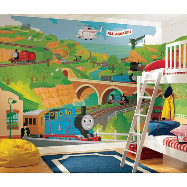 Thomas the Train Full Size Prepasted Mural 9 Ft. x 15 Ft. - Ultra-strippable, image 1