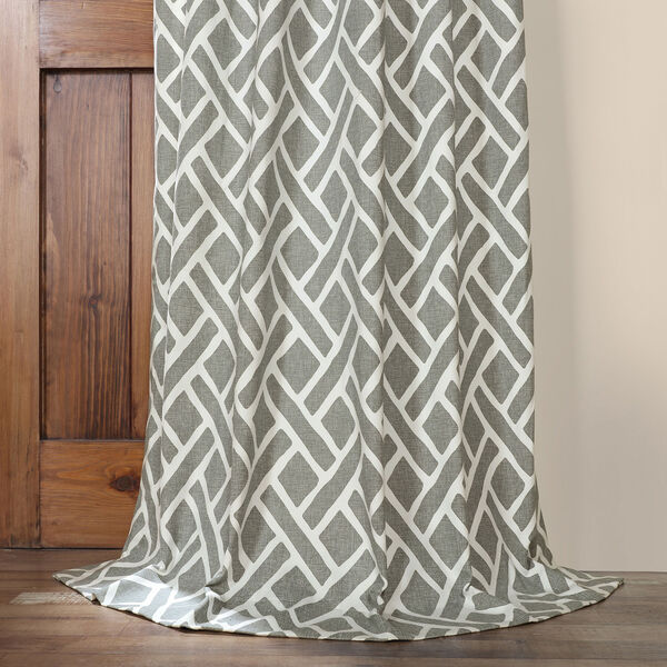 Martinique Grey 84 in. x 50 in. Printed Cotton Curtain Panel, image 5