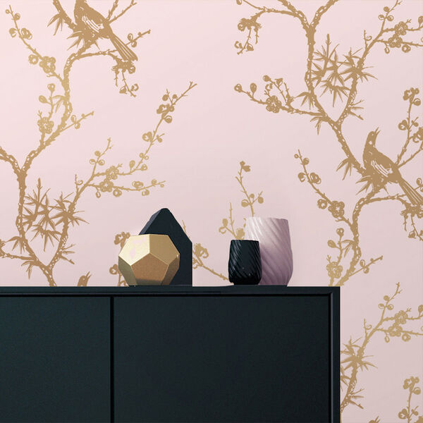 Bird Watching  Rose Pink and Gold Removable Wallpaper, image 1