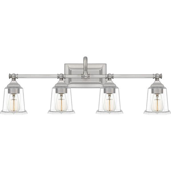 Nicholas Brushed Nickel Four-Light Bath Vanity with Transparent Glass, image 1