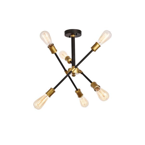 Axel Black and Brass 17-Inch Six-Light Semi-Flush Mount, image 3