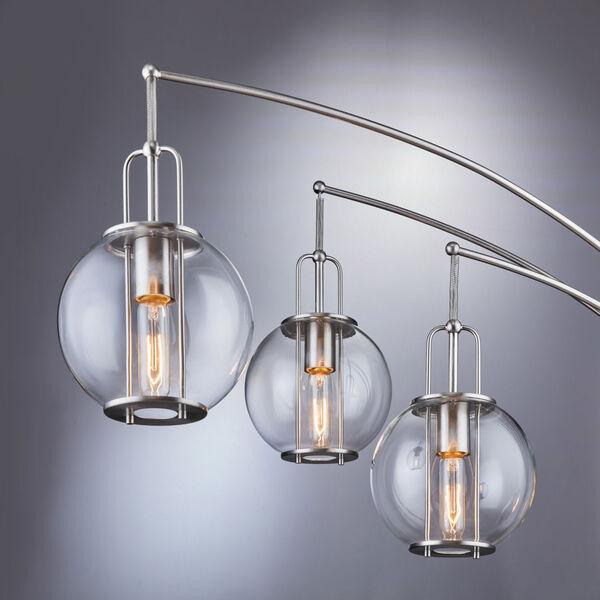 Kaira Brushed Nickel Three-Light Arc Floor Lamp, image 2