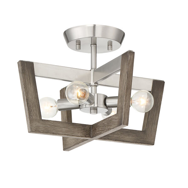 Westend Satin Platinum Four-Light Semi-Flush, image 1