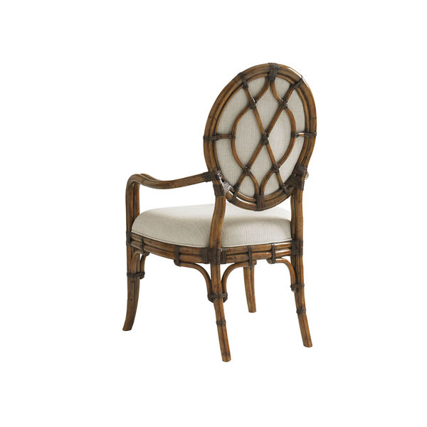 Bali Hai Brown and Ivory Gulfstream Oval Back Arm Chair, image 3