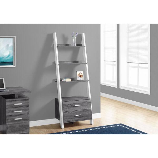 Grey-White Ladder Bookcase with 2 Storage Drawer, image 1