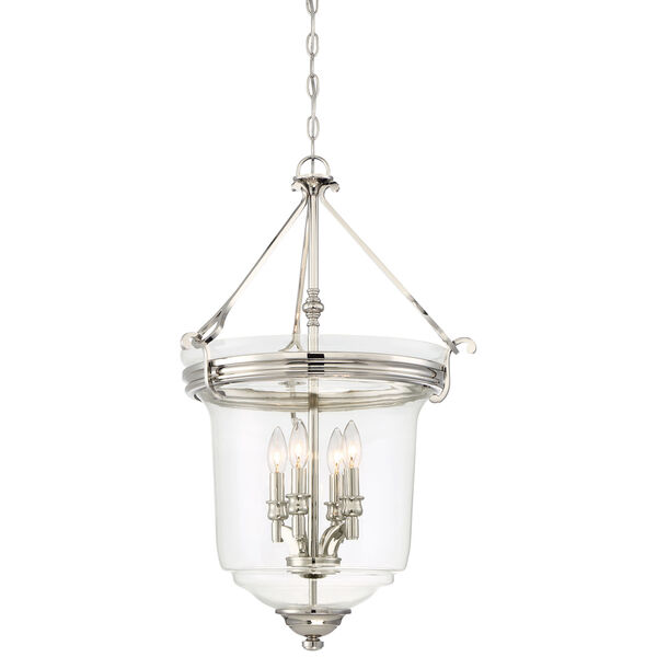 Audreys Point Polished Nickel Four-Light Bell Pendant, image 1