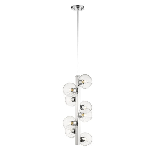 Marquee Chrome Eight-Light Pendant with Clear Glass, image 4