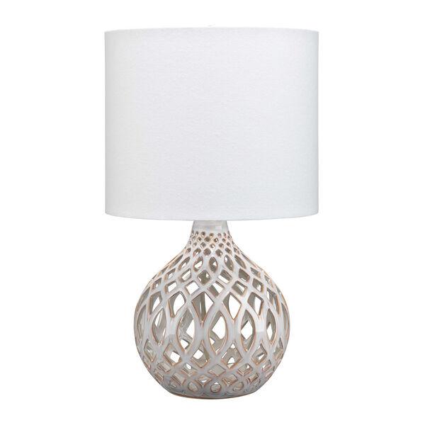 Cora Cream and White One-Light Ceramic Table Lamp, image 1