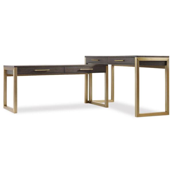 Curata Dark Wood and Gold Short Left, Right, Freestanding Desk, image 2
