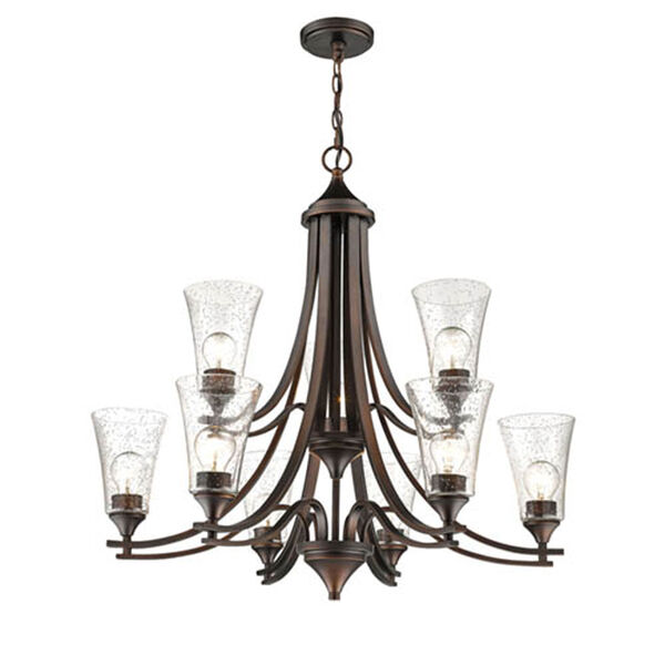 Natalie Rubbed Bronze Nine-Light Chandelier with Clear Seeded Glass, image 1