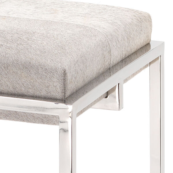 Shelby Grey Hide and Nickel Metal Counter Stool, image 2