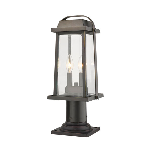 Millworks Oil Rubbed Bronze Two-Light Outdoor Pier Mounted Fixture With Transparent Beveled Glass, image 3