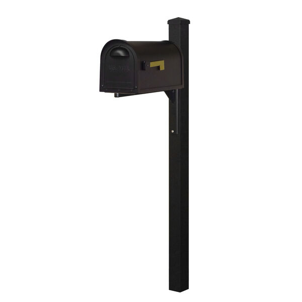 Classic Curbside Mailbox Black Mailbox and Wellington Direct Burial Mailbox Post Smooth, image 1