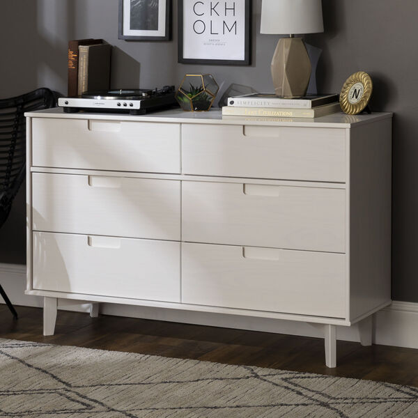 Sloane White Groove Dresser with Six Drawer, image 3
